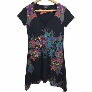 Desigual Floral Beaded Embellish V Neck Dress